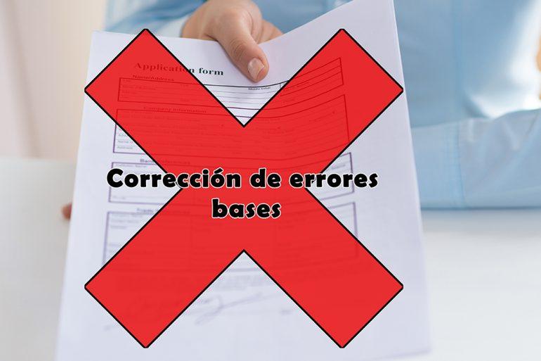 Corrección de errores referente a convocatoria para proveer varias plazas