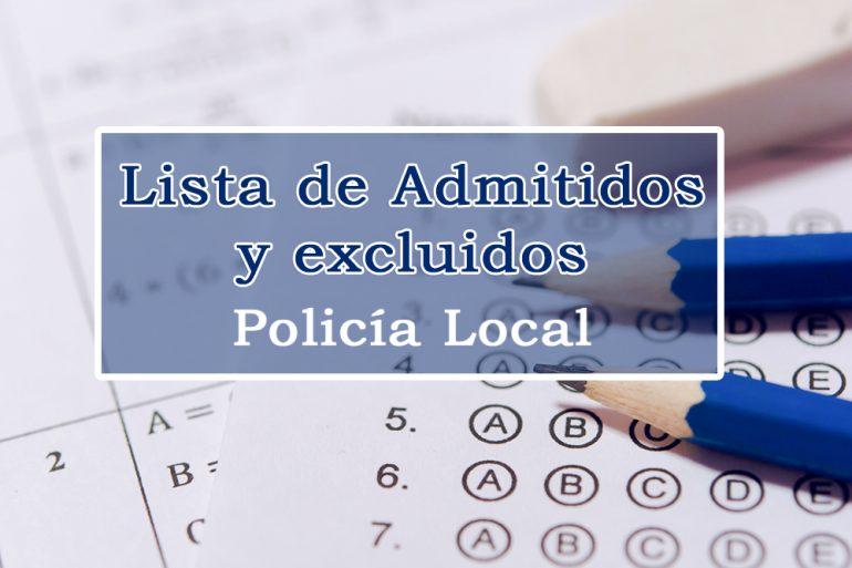 Publicada lista de admitidos y excluidos a una plaza de Policía Local