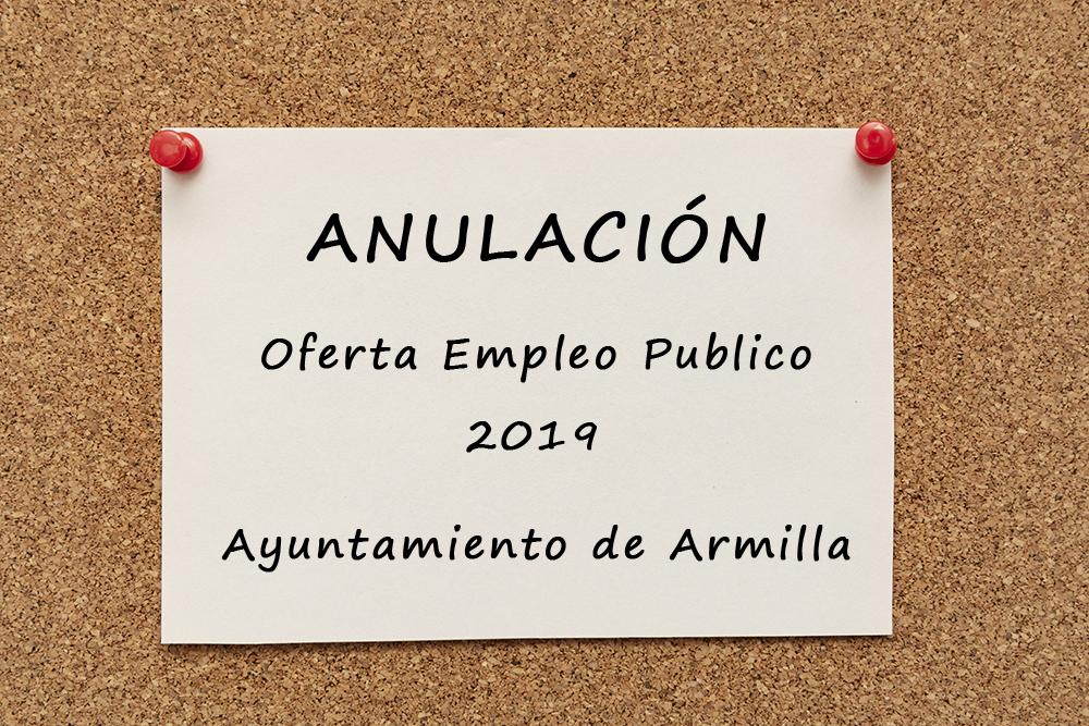 Anulación de Oferta de Empleo Público 2019 del Ayuntamiento de Armilla