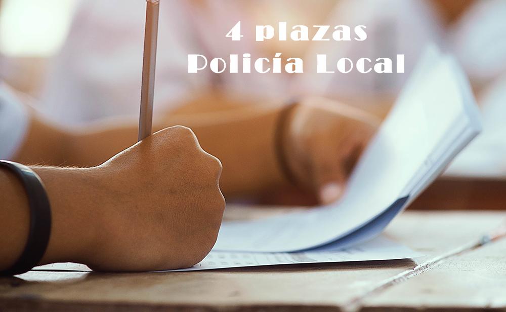 Plazo para solicitudes a cuatro plazas de Policía Local