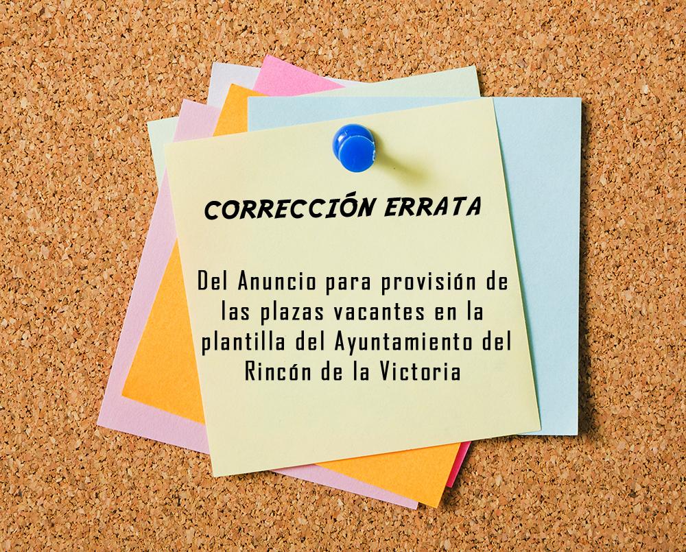 Corrección errata anuncio del proceso selectivo para Rincón de la Victoria