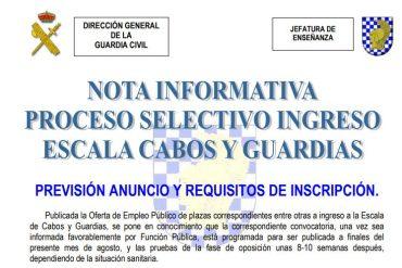 NOTA INFORMATIVA: Proceso Selectivo Ingreso Escala Cabos y Guardias